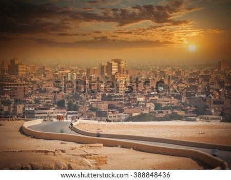 Cairo, Egypt. Largest city in Africa. picturesque landscape - stock photo