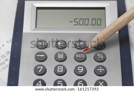 Calculator with pen closeup. Financial accounting concept.  - stock photo