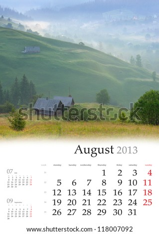 2013 Calendar. August. Beautiful summer landscape in the mountains village - stock photo