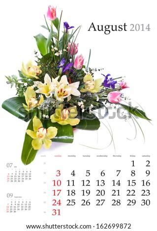 2014 Calendar. August. Bright flower bouquet on white background - stock photo