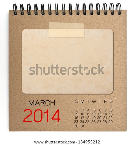 2014 Calendar brown notebook with old blank photo - stock photo