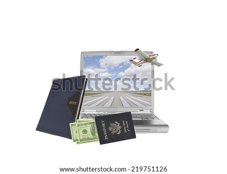 2015 Calendar Datebook with US passport and American currency leaning on laptop with heart shaped cloud blue sky isolated on white background - stock photo