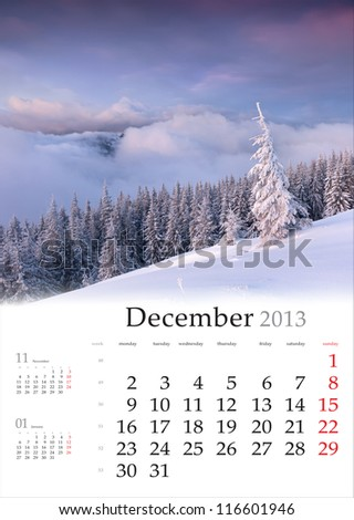 2013 Calendar. December. Beautiful winter landscape in the mountains. - stock photo
