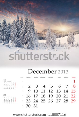 2013 Calendar. December. Beautiful winter landscape in the mountains.