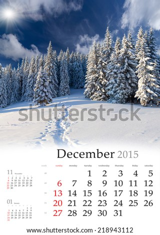 2015 Calendar. Desember. Beautiful winter landscape in the mountains.