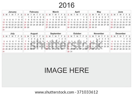 2016 calendar designed by computer using design software, with white background