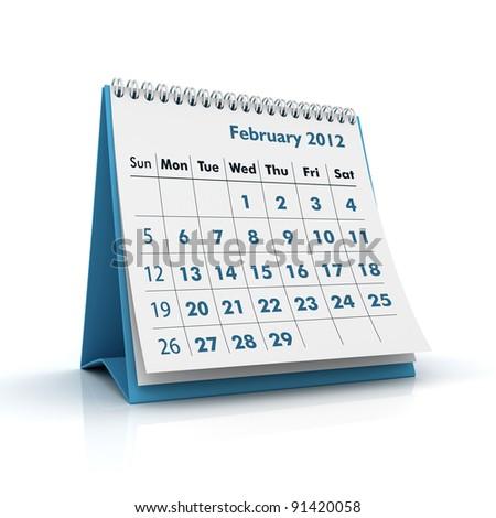 2012 calendar. February - stock photo