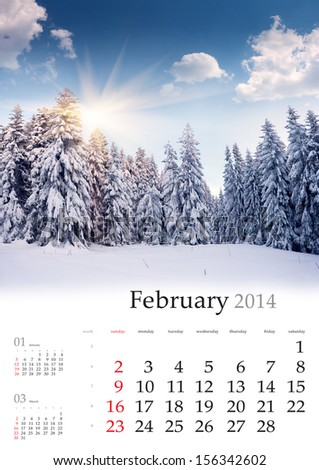 2014 Calendar. February. Beautiful winter landscape in the mountains.