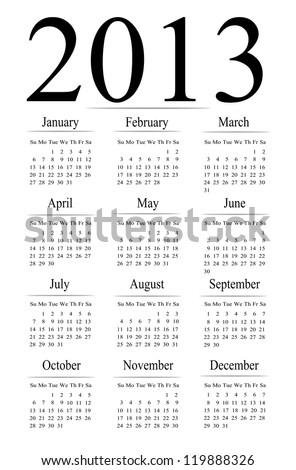 2013 calendar illustration. - stock photo