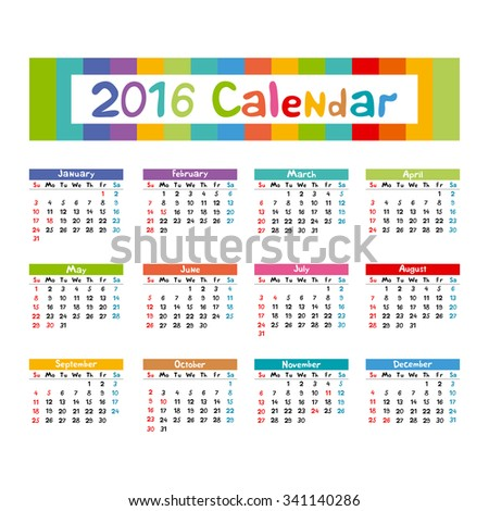 2016 Calendar - illustration kids hand made art