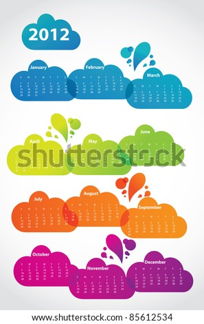 2012 calendar in lava clouds, raster - stock photo