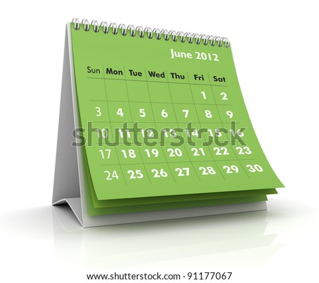 2012 calendar. June - stock photo