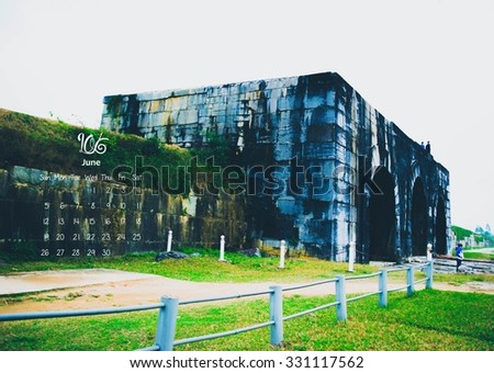 2016 Calendar. June.Citadel of the Ho Dynasty in Thanh Hoa, Vietnam - a UNESCO World Heritage Site