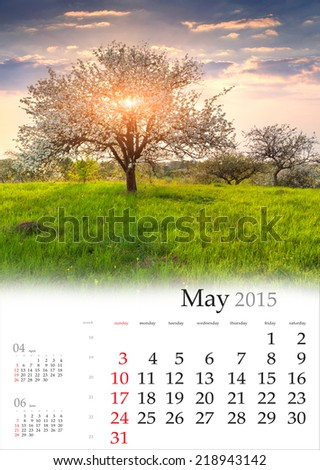 2015 Calendar. May. Blooming apple trees in the spring - stock photo