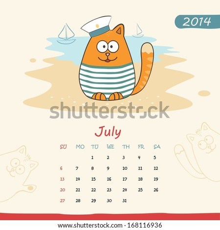 2014 calendar, monthly calendar template with cats for July - stock photo