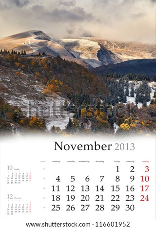 2013 Calendar. November. Dramatic autumn landscape in the mountains. - stock photo