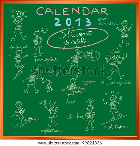 2012 calendar on a chalkboard with the student profile for international schools, cover design