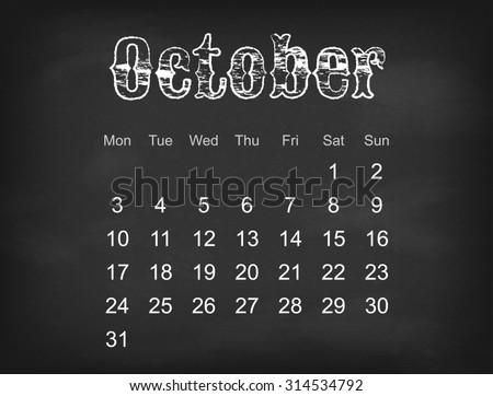 2016 calendar on black chalk board  Europe calendar grid weeks starts on Monday   - stock photo