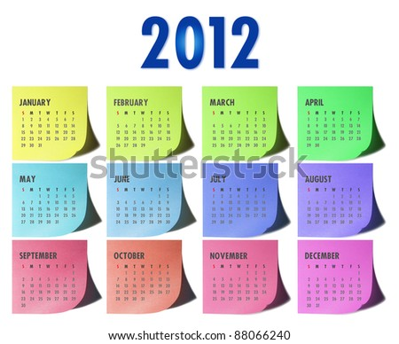 2012 calendar on written sticky memo pads