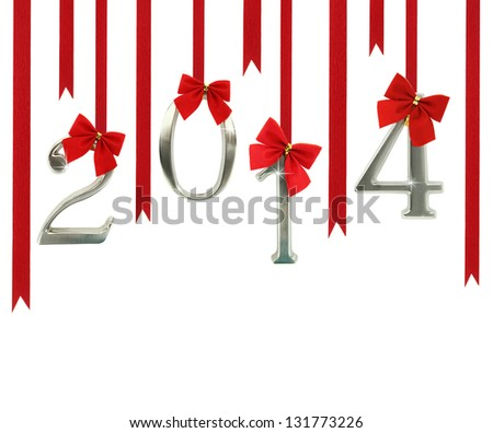 2014 calendar ornaments hanging on red ribbons - stock photo