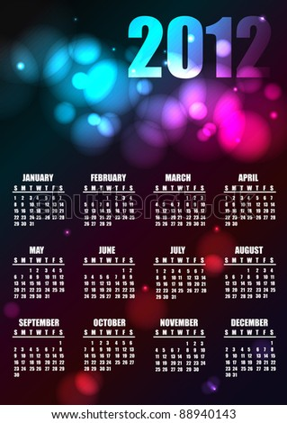 2012 calendar, raster - stock photo