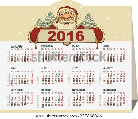 2016 calendar. Santa Claus holding banner - stock photo