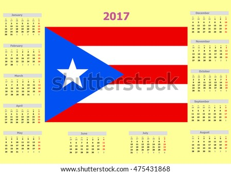 2017 calendar united states puerto rico stock illustration 2017 calendar united states puerto rico country flag publicscrutiny Image collections