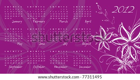2012 calendar - week starts on Sunday - raster version of vector ID 77168773