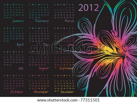 2012 calendar - week starts on Sunday - raster version of vector ID 77168776