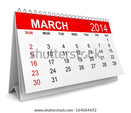 2014 Calendar. Week starts with sunday. 3d illustration on white background