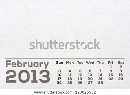 2013 Calendar white Mulberry Paper Texture. - stock photo