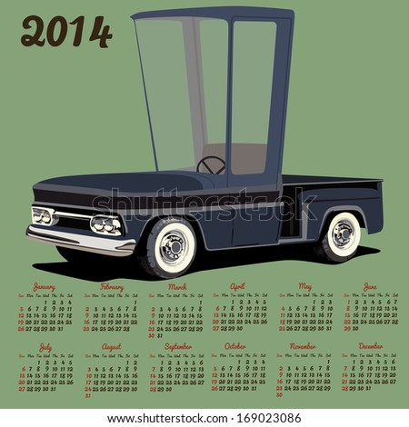2014 calendar with a cartoon car - stock photo