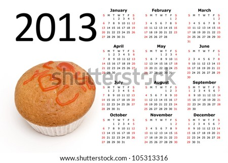 2013 Calendar with a Cupcake - stock photo