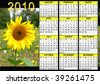2010 calendar with sunflowers - stock photo