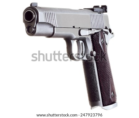 45 Caliber custom match grade stainless steel automatic pistol gun firearm for sport or personal defense and protection isolated on white background - stock photo