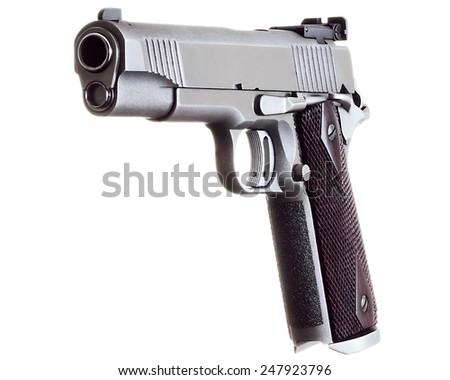 45 Caliber custom match grade stainless steel automatic pistol on white background - stock photo