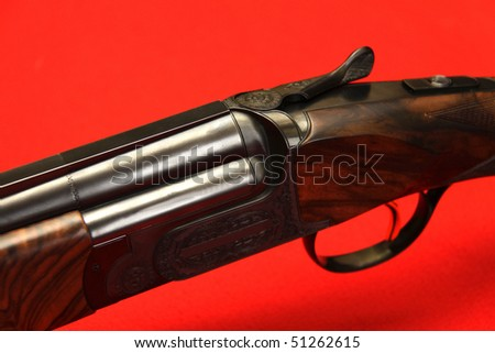 12 caliber sportive and hunting double-barrelled gun - stock photo