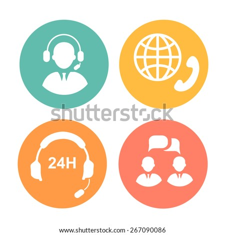 call center icons of operator, headset and handset - stock photo