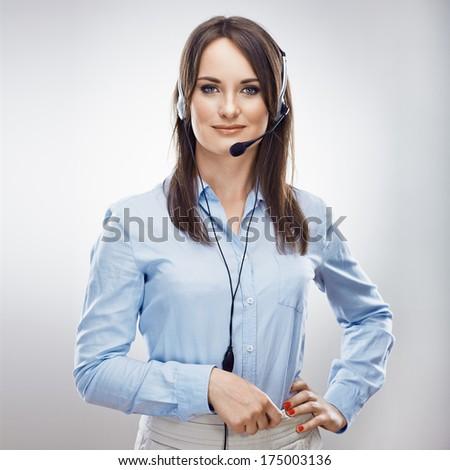 Call center operator. Phone talk. Customer service woman. Isolated. - stock photo