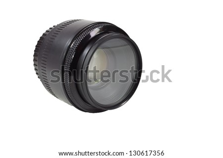 camera lens on a white background - stock photo