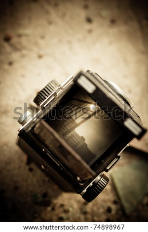 120 camera viewfinder - stock photo