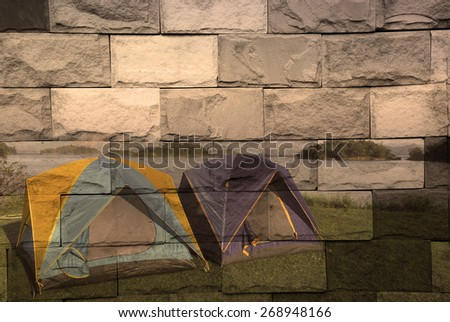 """""""camping near lake"""" The brick painting concept - stock photo"""