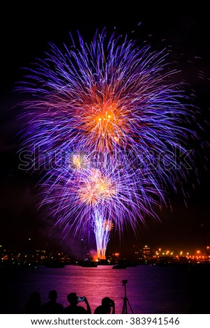 2015 Canada Day fireworks, Canada Place, Vancouver - stock photo