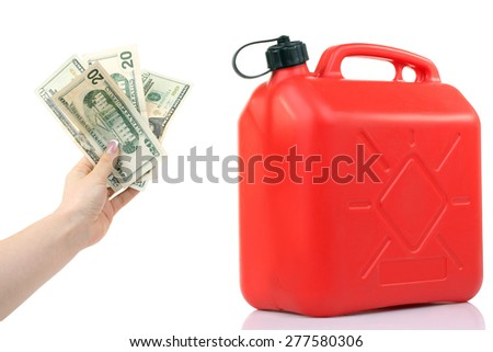 canister of gasoline and dollars in isolated - stock photo