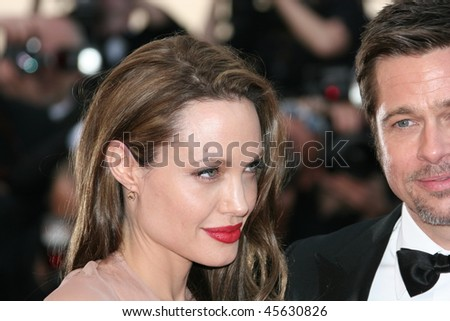 CANNES, FRANCE - MAY 20: Angelina Jolie and Brad Pitt attend the 'Inglourious Basterds' Premiere at the Theatre Lumiere during the 62nd Annual Cannes Film Festival on May 20, 2009 in Cannes, France - stock photo