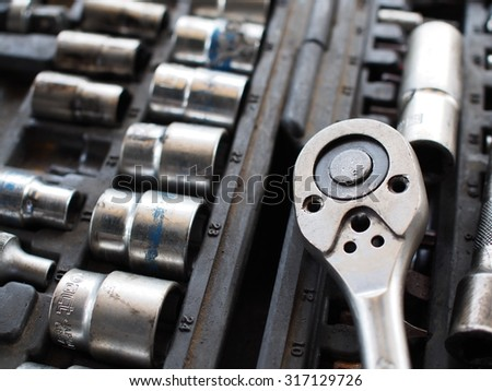 car engine with tools  - stock photo