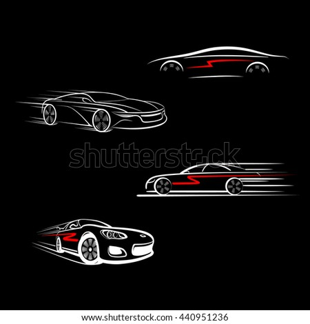 Car logo design. Car (automobile) in the form of lines of silhouette, in movement. Light on a dark background. Isolated.