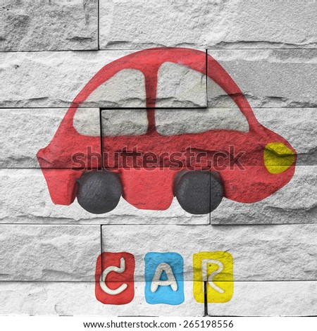 """car"" Mural. The  brick painting  concept"
