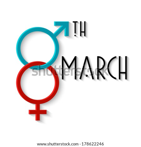 Card for Women's day with gender signs. Raster version - stock photo