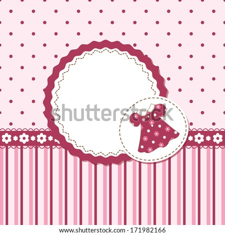 Card or invitation for baby girl shower or birthday party with stripes ,dress and  polka dots with white space for text, raster version